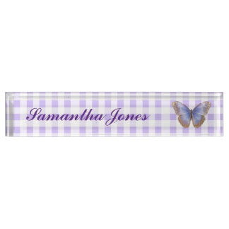 Butterfly and Gingham Desk Name Plate