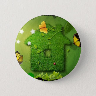 butterfly and green house 6 cm round badge