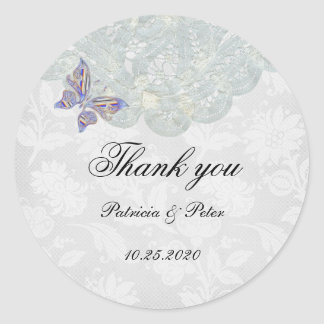 Butterfly and Lace Round Thank You Sticker