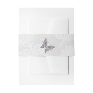 Butterfly and Lace Wedding Invitation Belly Band