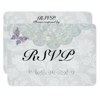 """Butterfly and Lace Wedding RSVP Matte 3.5"""" x 5"""" Card"""