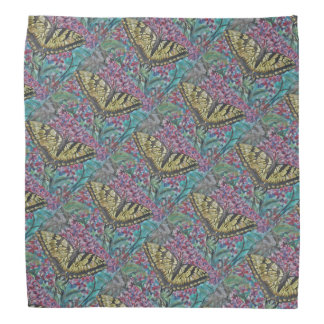 Butterfly and Lilac Pattern Head Kerchiefs