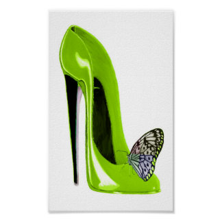 Butterfly and Lime Green Stiletto Shoe Art Poster