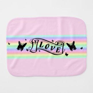 Butterfly and Love on Rainbow Burp Cloth