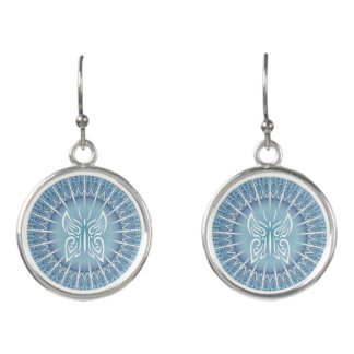 Butterfly And Mandala Animal Tribal Blue Earrings