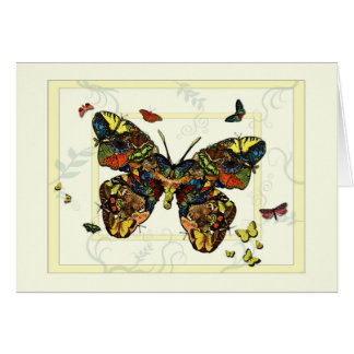 Butterfly and Moth Collage Greeting Note Card