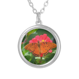 Butterfly and Pink Flower Silver Plated Necklace