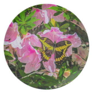 Butterfly and Pink Flowers - Plates