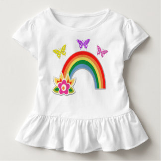 Butterfly and Rainbow T Shirt for Toddler Girls
