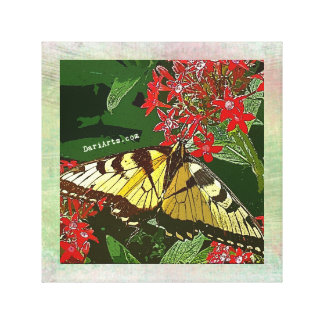 Butterfly and Red Flowers canvas print wall art