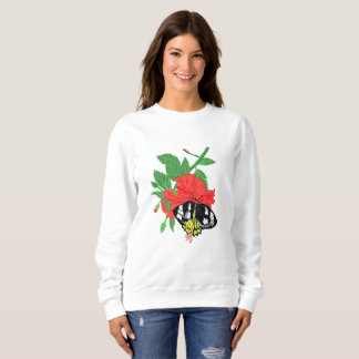 Butterfly and Red Hibiscus Flower Sweatshirt