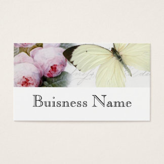Butterfly and roses business card