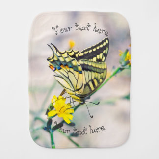 Butterfly and Small Yellow Flowers Baby Burp Cloth