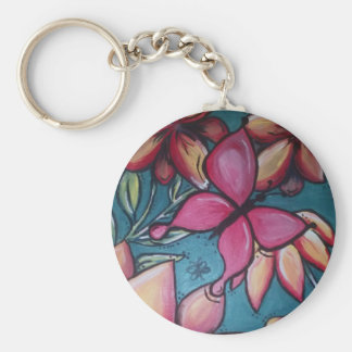 Butterfly and sunflower key ring