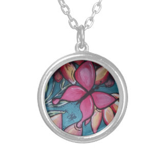 Butterfly and sunflower silver plated necklace