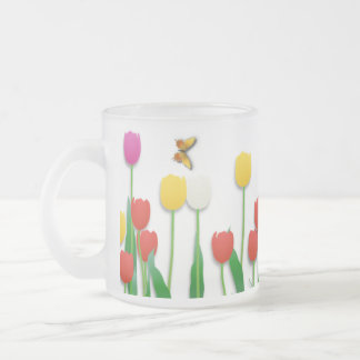 Butterfly and Tulips Frosted Glass Coffee Mug