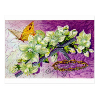 BUTTERFLY AND WHITE BLOSSOMS EASTER GREETINGS POSTCARD