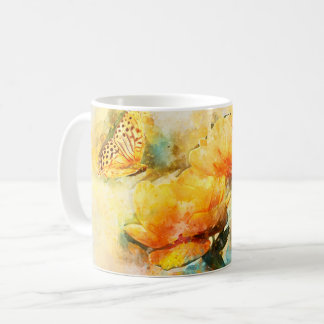 Butterfly and Yellow Flowers in Spring Garden Coffee Mug