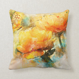 Butterfly and Yellow Flowers Watercolor Style Cushion