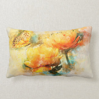 Butterfly and Yellow Spring Flowers Watercolor Lumbar Cushion