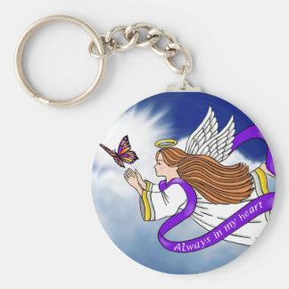 Butterfly Angel Basic Round Button Key Ring