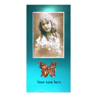 BUTTERFLY AQUAMARINE ,red blue Photo Card Template