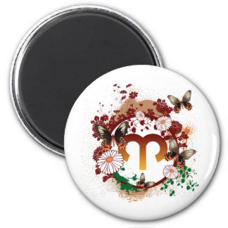 Butterfly Aries 6 Cm Round Magnet