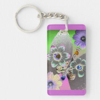 Butterfly art rectangular acrylic key chains