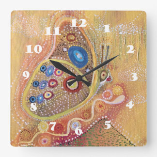 Butterfly Art Painting Square Wall Clock