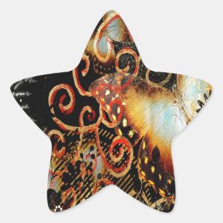 Butterfly Artwork in Grunge Star Sticker