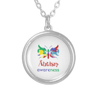 Butterfly Autism Awareness Silver Plated Necklace
