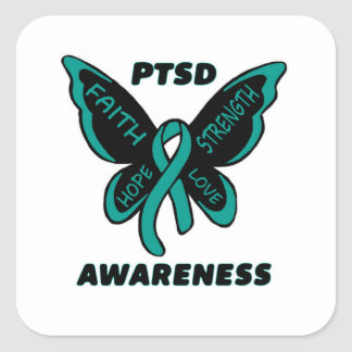 Butterfly/Awareness...PTSD Square Sticker