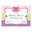 Butterfly Baby Shower in Purple Pink and Green Card