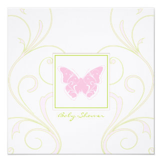 "Butterfly Baby Shower Invitation 5.25"" Square Invitation Card"