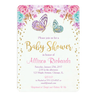 Butterfly baby shower invitation, pink purple gold card