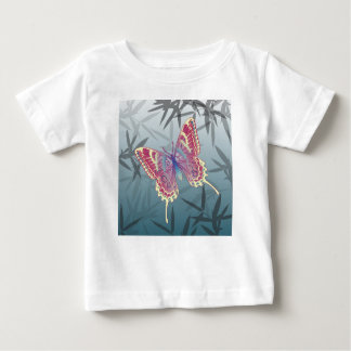 Butterfly Bamboo leaves Blue Unique Pattern Baby T-Shirt