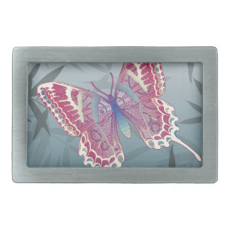 Butterfly Bamboo leaves Blue Unique Pattern Belt Buckle