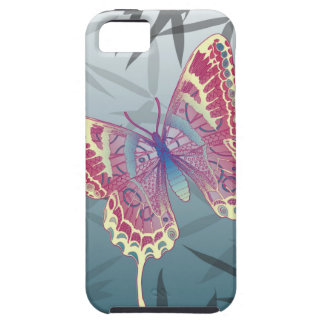 Butterfly Bamboo leaves Blue Unique Pattern Case For The iPhone 5