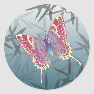 Butterfly Bamboo leaves Blue Unique Pattern Classic Round Sticker