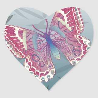 Butterfly Bamboo leaves Blue Unique Pattern Heart Sticker