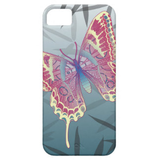 Butterfly Bamboo leaves Blue Unique Pattern iPhone 5 Cover