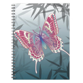 Butterfly Bamboo leaves Blue Unique Pattern Notebooks