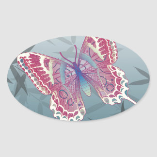 Butterfly Bamboo leaves Blue Unique Pattern Oval Sticker