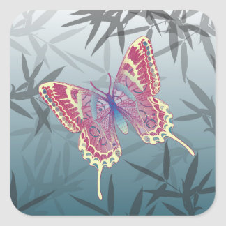 Butterfly Bamboo leaves Blue Unique Pattern Square Sticker