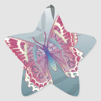 Butterfly Bamboo leaves Blue Unique Pattern Star Sticker