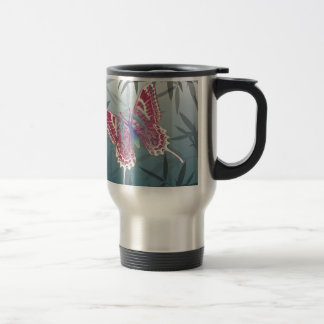 Butterfly Bamboo leaves Blue Unique Pattern Travel Mug