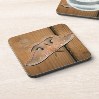 Butterfly Barn Wood Square Plastic Coaster