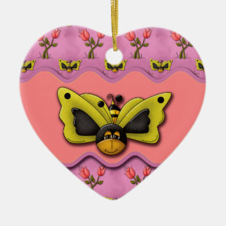 Butterfly Bees and Tulips Ceramic Heart Decoration