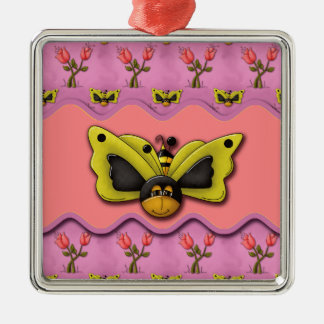 Butterfly Bees and Tulips Christmas Tree Ornament