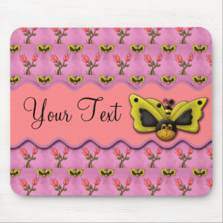 Butterfly Bees and Tulips Mouse Pad